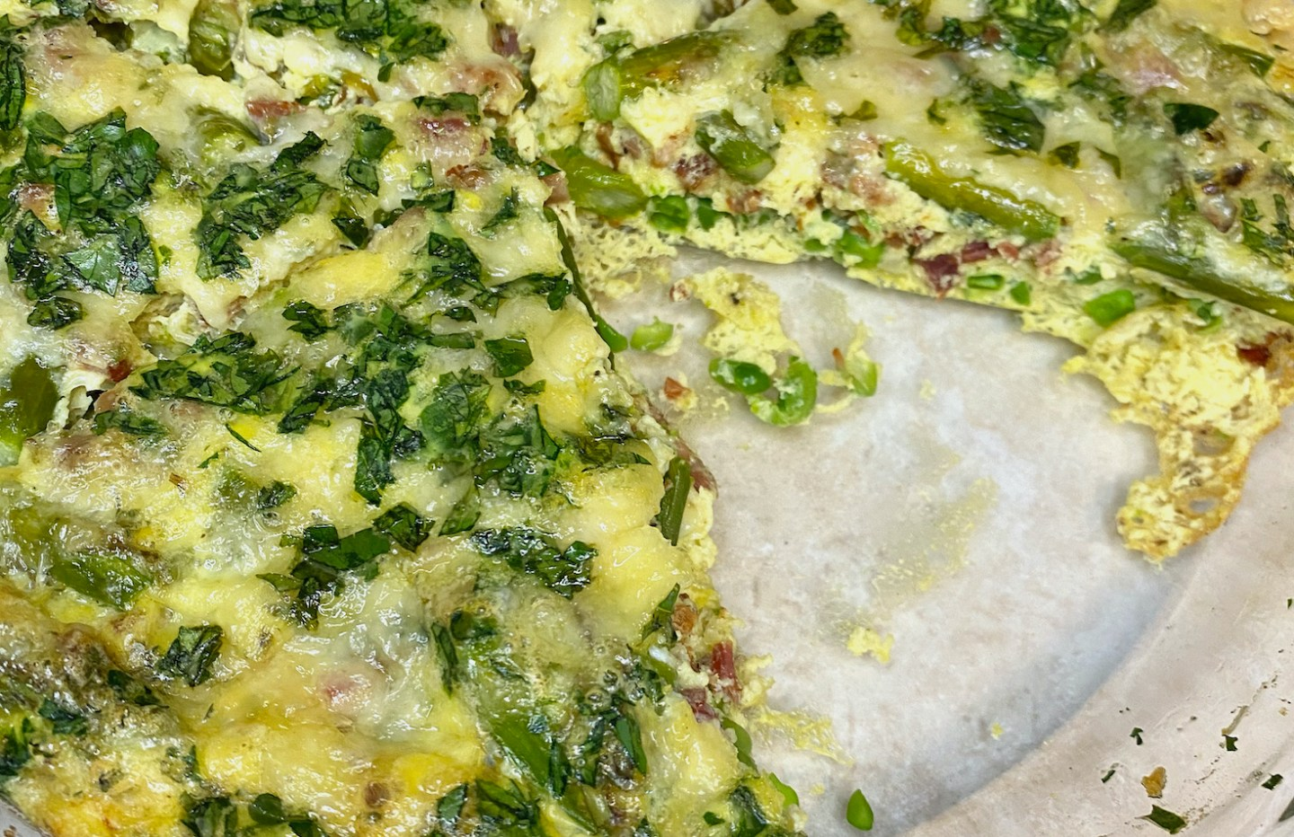 Asparagus Frittata with Peas and Pancetta