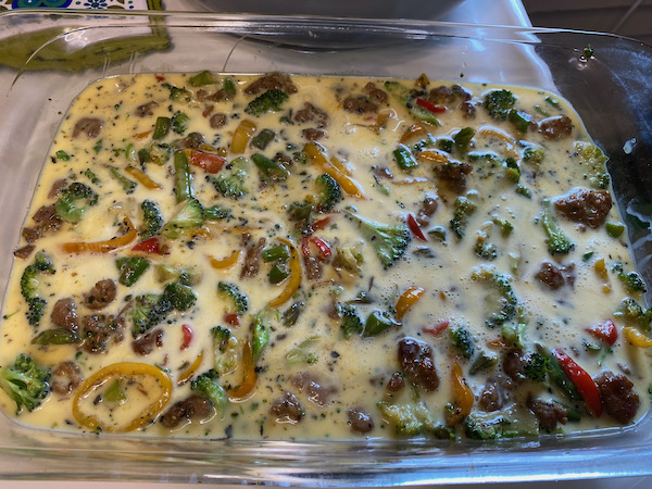 Egg Mixture Poured Over Sausage and Veggies