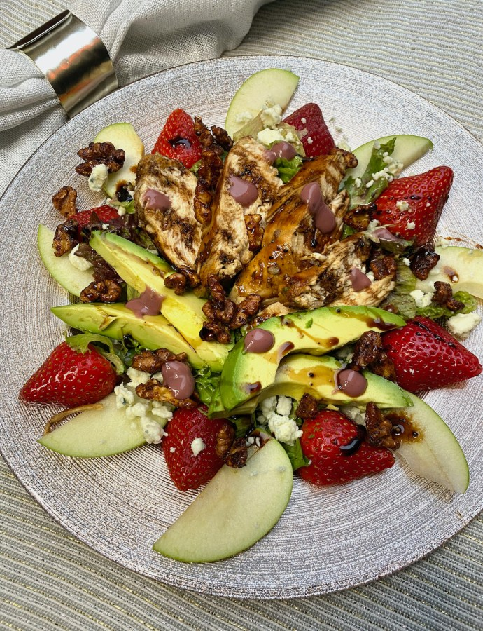 Blackberry Balsamic Blue Cheese Chicken Salad with Candied Walnuts
