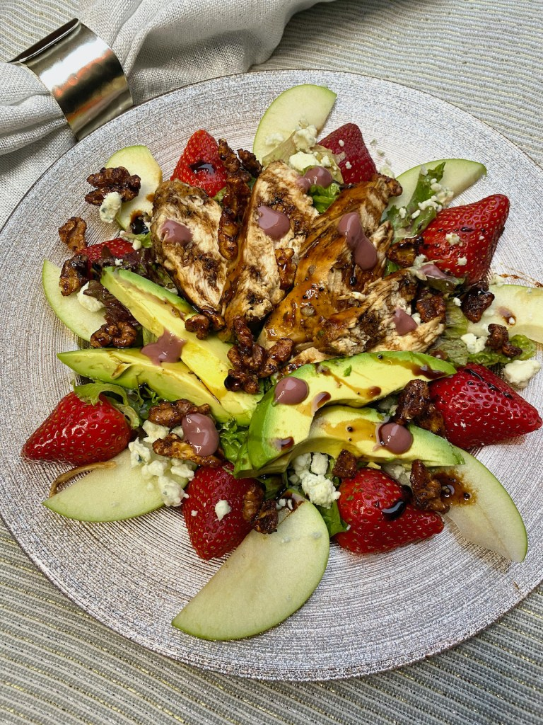 Blackberry Balsamic Chicken Salad with Candied Walnuts