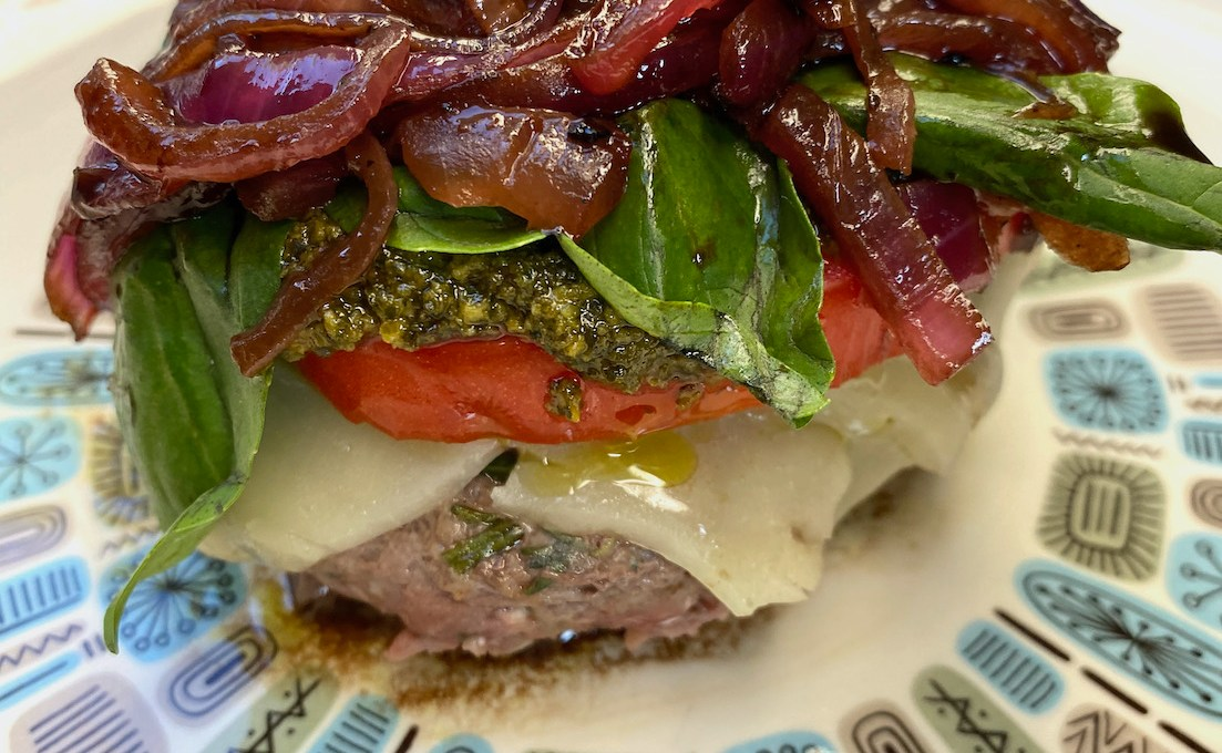 Caprese Burger with Balsamic Caramelized Onions