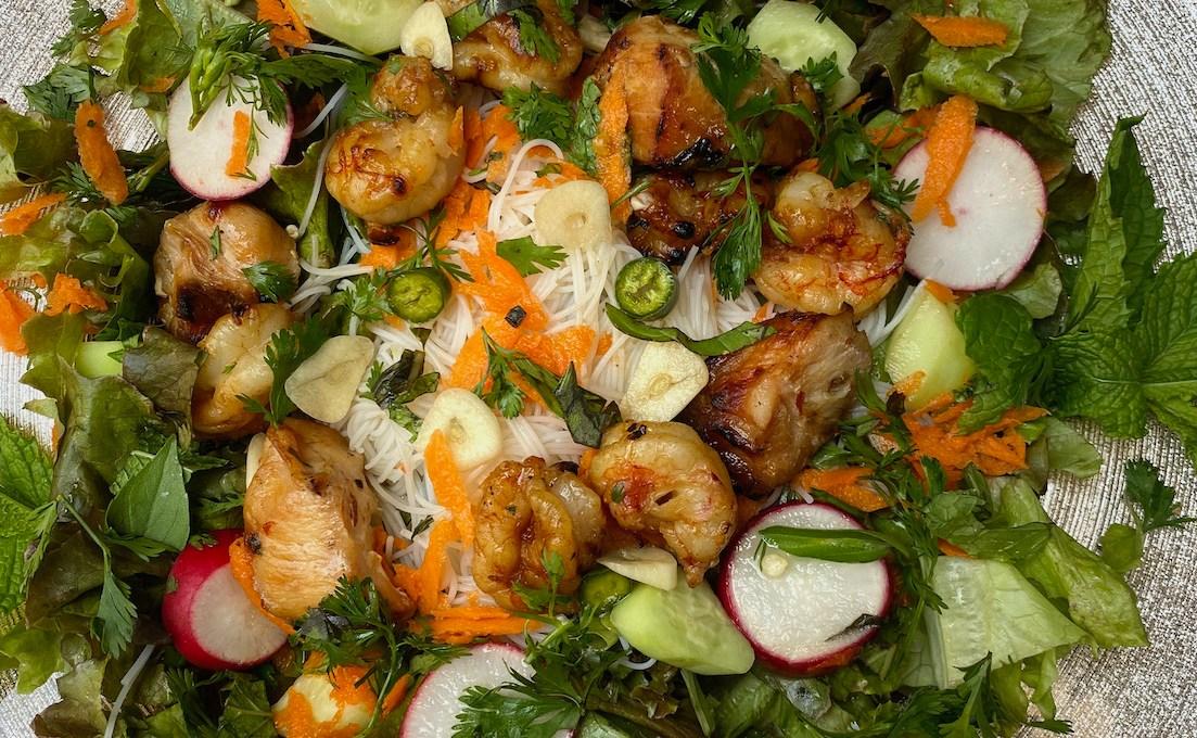 Grilled Shrimp and Chicken Vietnamese Noodle Salad