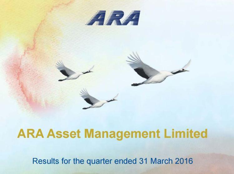 Cover - ARA posts 1Q16 net profit of S$19.4 million