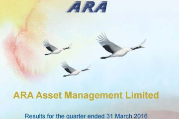 Cover - ARA posts 1Q16 net profit of S$19.4 million