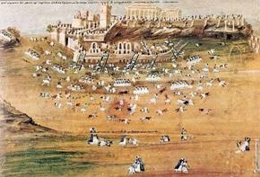 Αναπαράσταση πολικορκίας Αθηνών το 1826 μ.Χ. Σχέδιο Ζωγράφος από περιγραφές ήρωα Μακρυγιάννη.