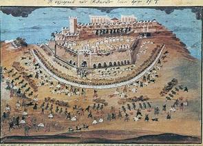 Αναπαράσταση πολικορκίας Αθηνών το 1822 μ.Χ. Σχέδιο Ζωγράφος από περιγραφές ήρωα Μακρυγιάννη.