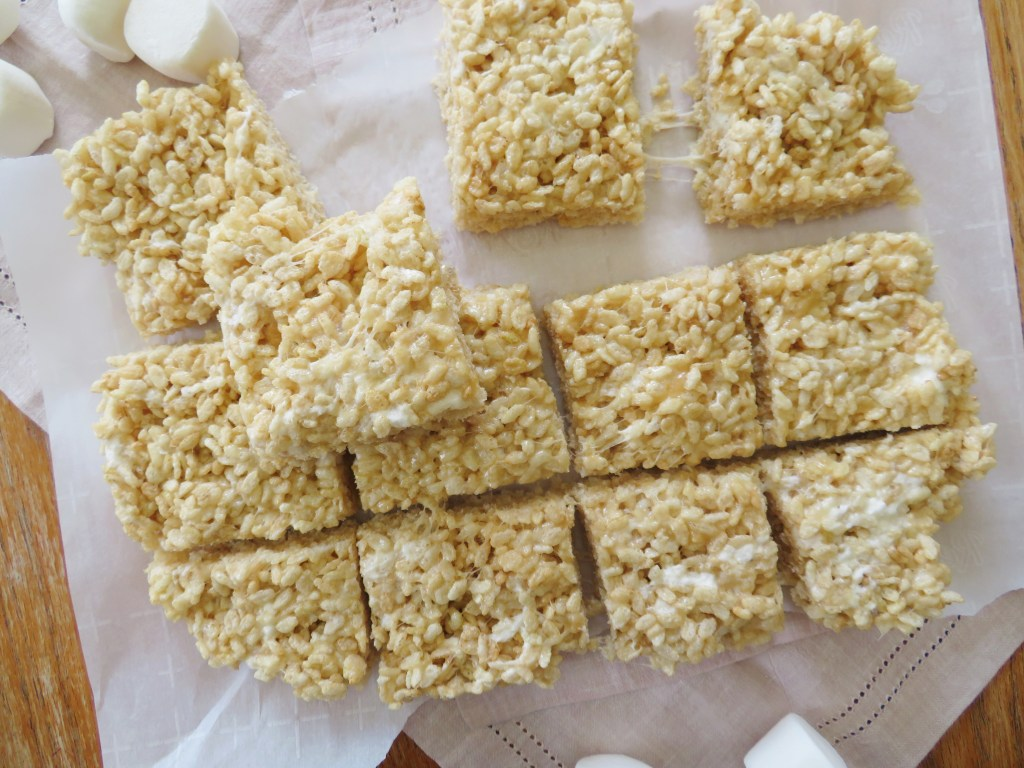 Close up on cut Rice Krispie treats