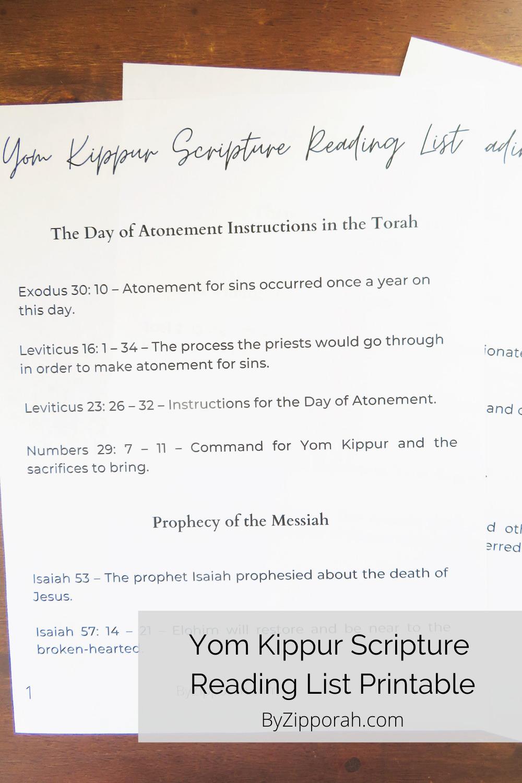 Yom Kippur Scriptures Reading List Printable