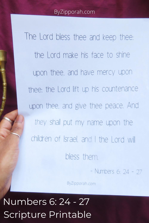 Aaron Blessing Numbers 6: 24 – 27 Printable