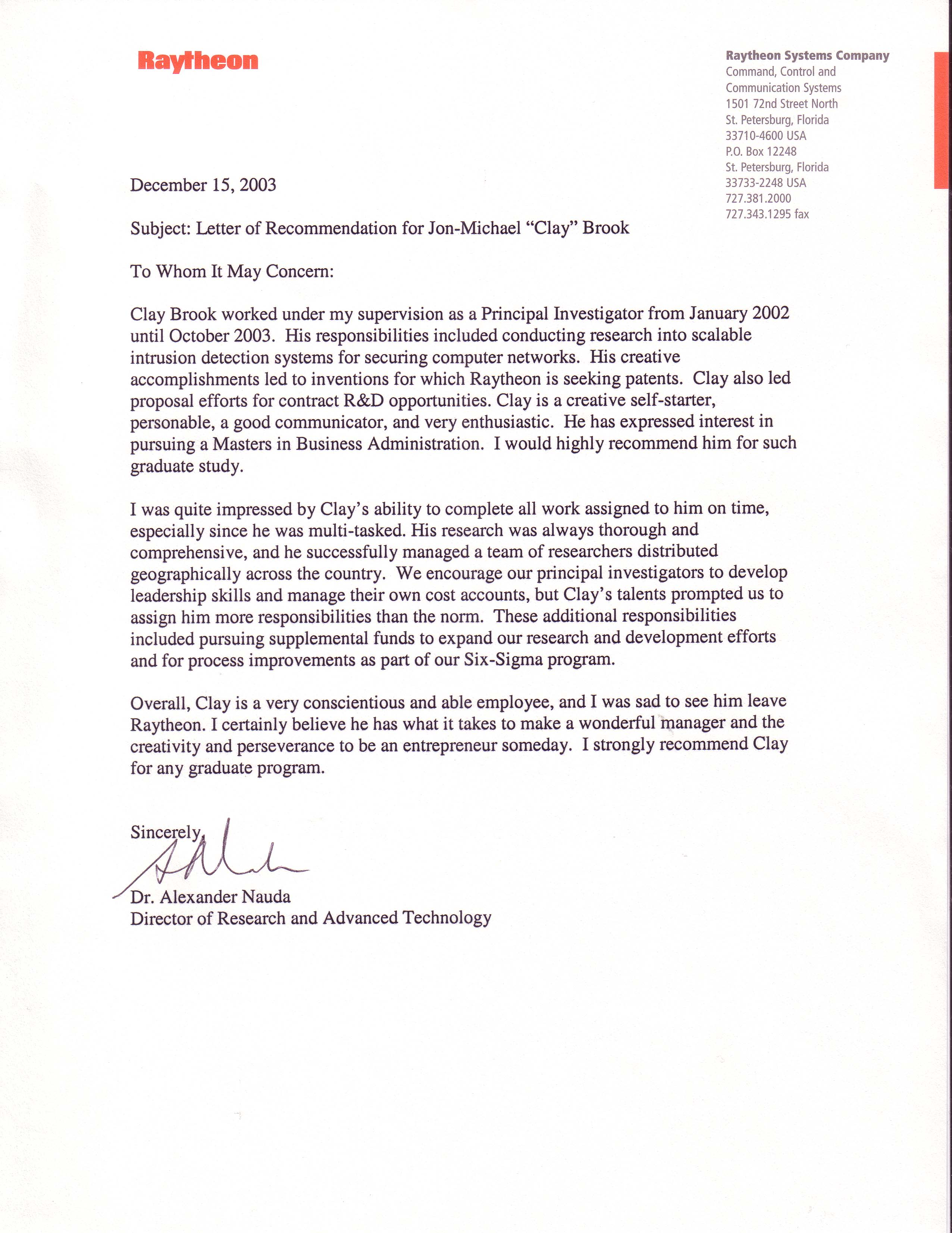 Recommendation Letter For Business Improvement   Academic Teaching