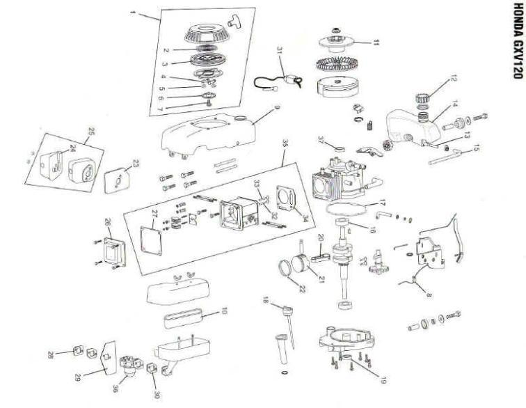 Honda GXV120 Engine Parts in Canada