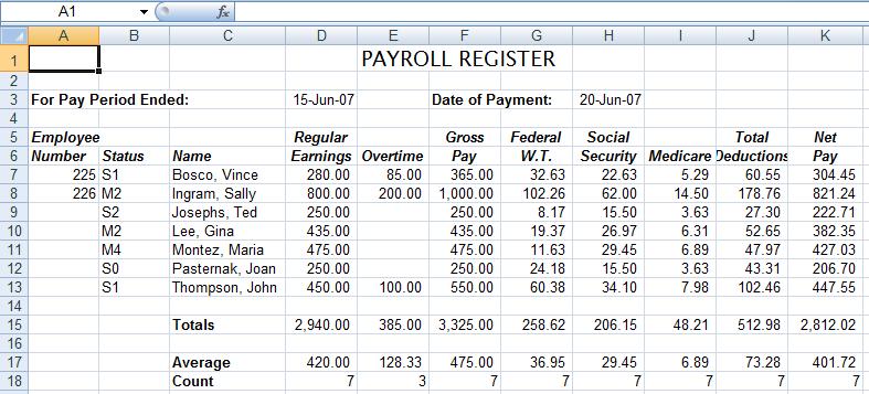 payroll excel