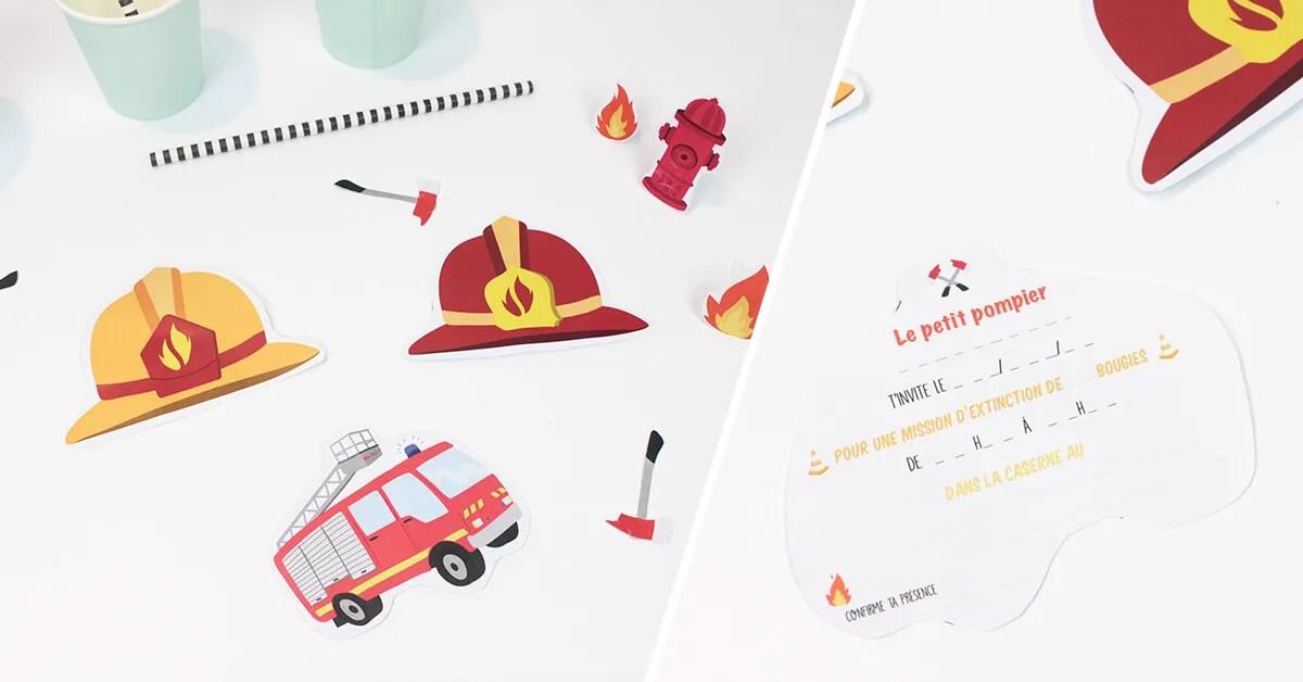 carte invitation anniversaire pompier