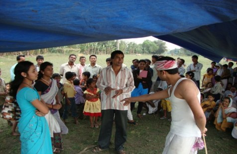 The street play on family planning being performed