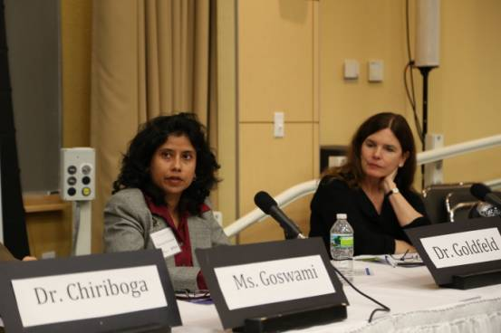 Bhaswati Goswami answering queries from the audience after her presentation at Tufts.To her right is Dr Anne Goldfield, Professor of Medicine, Harvard Medical School