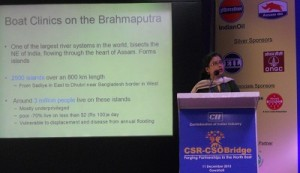 Communications Officer Bhaswati Goswami making her presentation on the Boat Clinics at the CII event