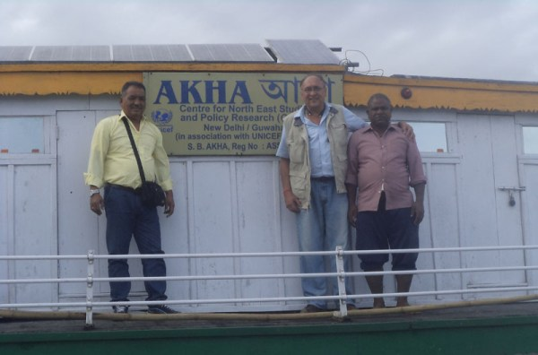 Victor Banerjee onboard Akha the Dibrugarh Boat Clinic anchored at Maijanghat.