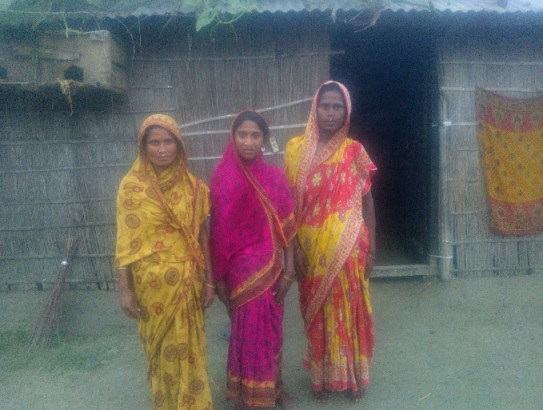 Left to right- Saimona, 26,  mother of 2, Joyful Nessa, 27, mother of 4 children and Anna Khatun 28 years old with 3 children. whether they should go for it or not.