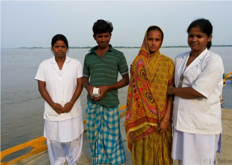 The first IUCD beneficiary and her husband at the Barpeta I Boat Clinic with ANMs