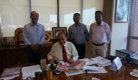 (From left)Sanjoy Hazarika,C-NES Managing Trustee ,(sitting)Dr Ramdas Pai, Chairman,Manipal Medical & Education Group and Chancellor, Manipal University,Ashok Rao, Programme Manager and Dr CR Hira, Technical Consultant,C-NES