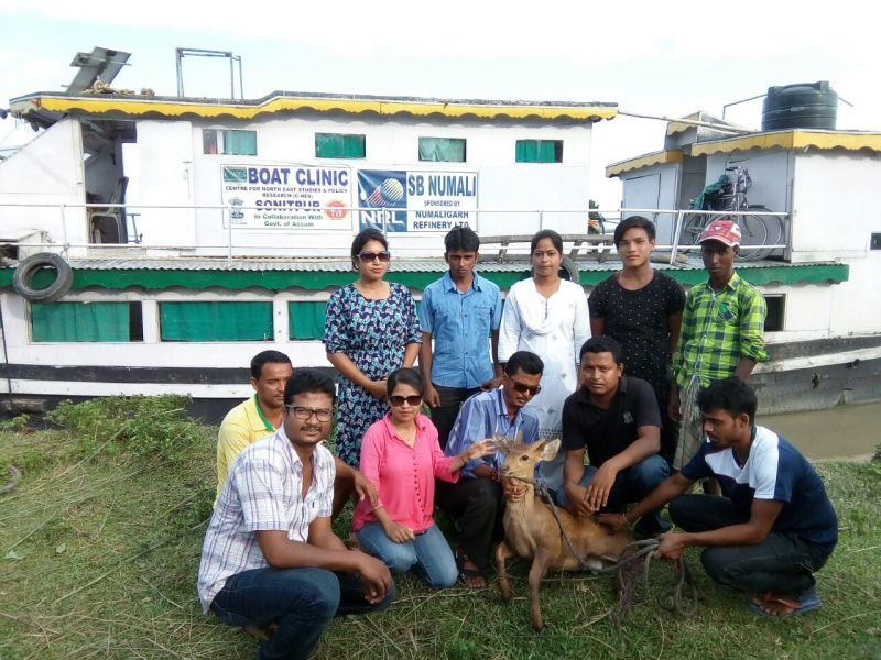 Sonitpur Boat Clinic team with rescued a deer