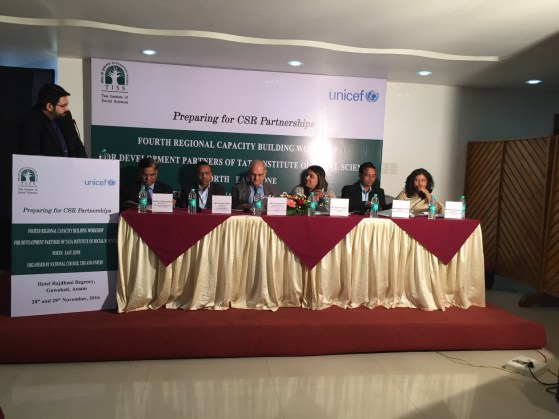 """Communications Officer Bhaswati Goswami(extreme right ) at the panel discussion, """"Why CSR? What CSR? How CSR?.'"""