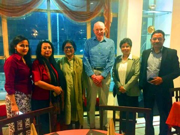(From left) Rituu B. Nanda from Constellation, Delhi, Ruchira Neog and Jyotika Baruah from VHAA, Phillip Forth, Founder member Constellation from UK, Bhaswati K Goswami and Ashok Rao from C-NES at an informal meet prior to the Knowledge Fair at Guwahati on 14-15th March 2019