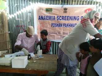 Awareness meeting on anemia and nutrition at Sewrapathar char on 27th March by the Barpeta Unit II Boat Clinic Unit