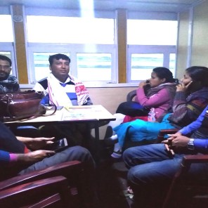 The health team relaxing on board the Kamrup Boat Clinic on way back from the camp after a long, hectic day