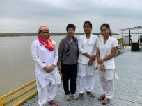 The film crew felicitated with traditional Gamochas onboard the Sonitpur Boat Clinic (Right)Nurses from the Sonitpur Boat Clinic with Communications Officer Bhaswati Goswami onboard before taking off for a health camp with the documentary team on 17th May 2019