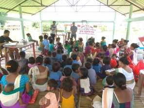 Handwashing demonstration and awareness for school children by Tinsukia Boat Clinic team at Amarpur island village as part of Intensified Diarrhoea Control Fortnight (IDCF). This consists of a set of activities to be implemented in an intensified manner for prevention and control of deaths due to dehydration from diarrhoea.