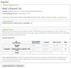 Wrap-Up Payroll Entry Form