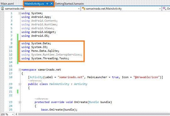 Create an ADO.NET Data Base In Xamarin Android App Using Visual Studio 2015