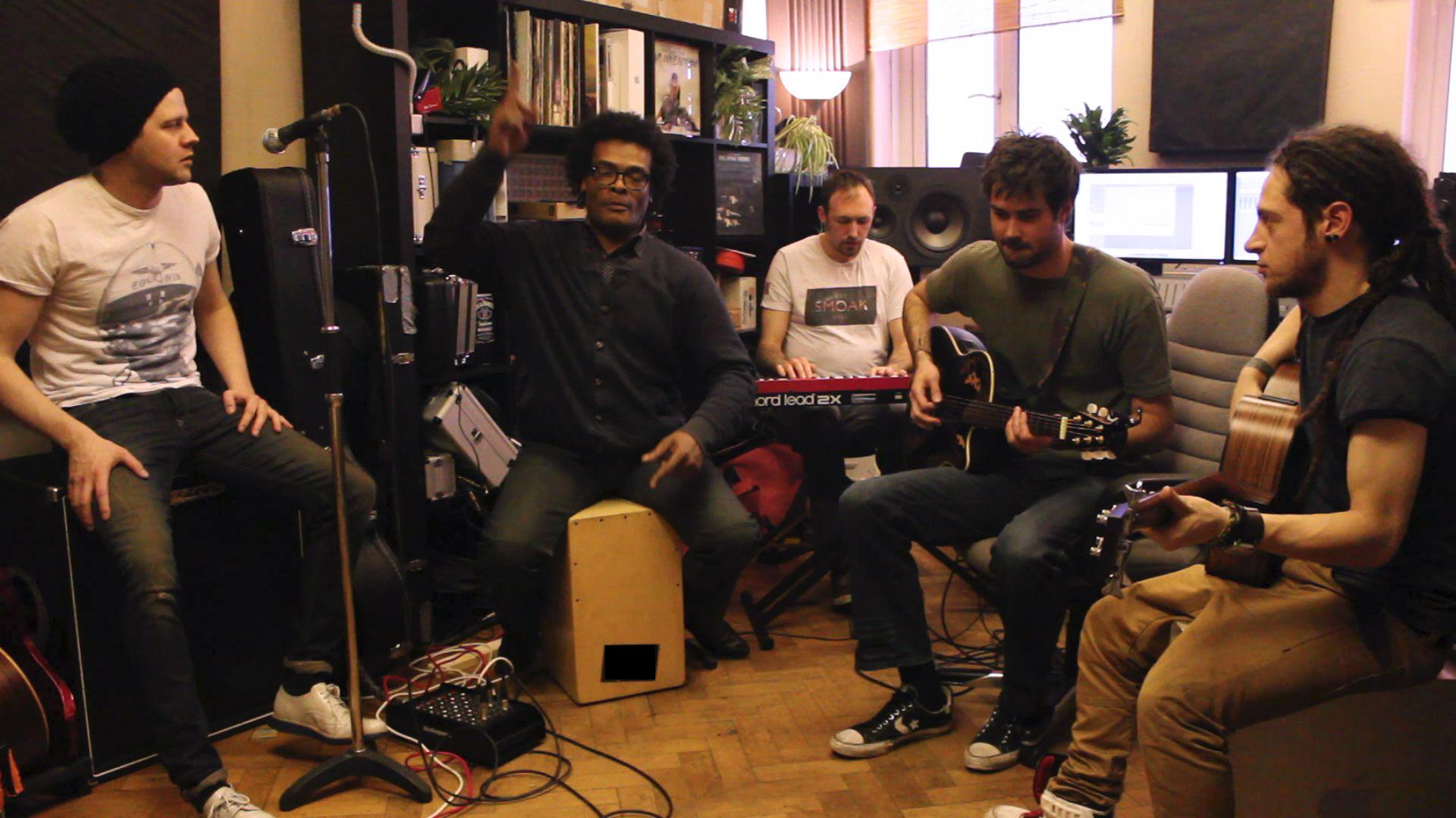 The Mike Moss band recording an acoustic track