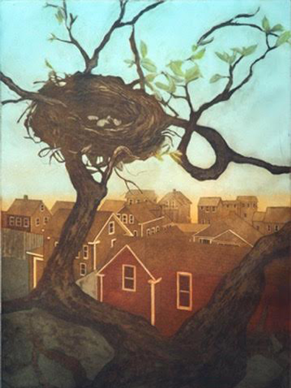 hand pulled print of rooftops, tree with bird nest