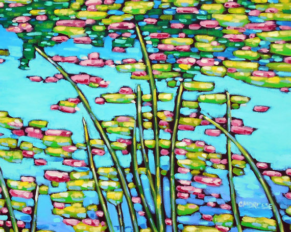reproduction print of original waterlilies painting by Christi Dreese