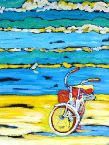 reproduction of original painting featuring a bike by water