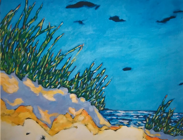 along the shoreline, reproduction of original painting