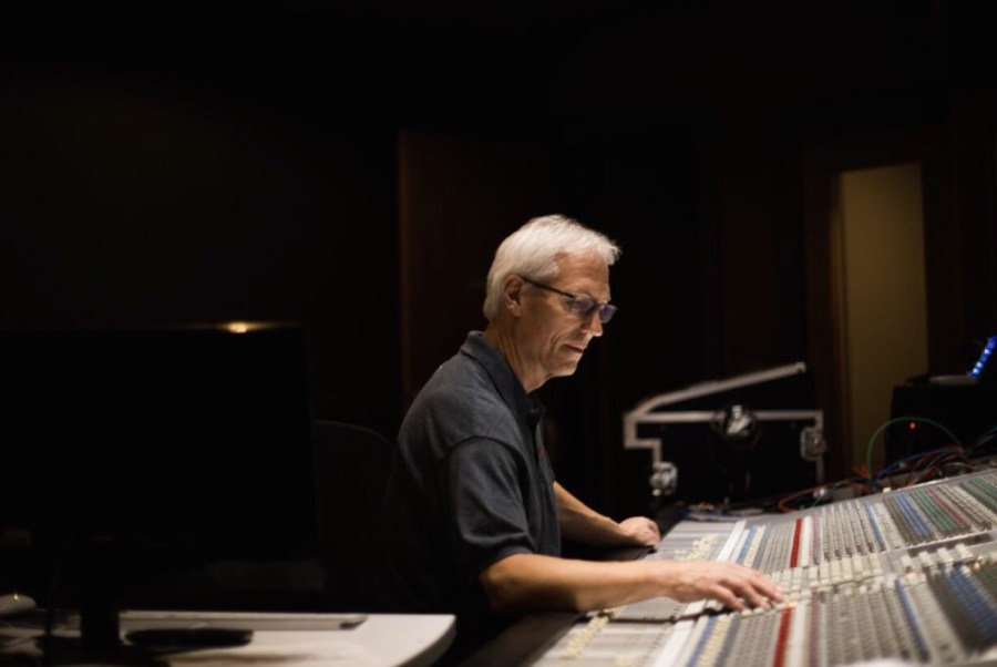 Supporting Artists in West Michigan - Bill Chrysler in recording booth Grand Haven MI
