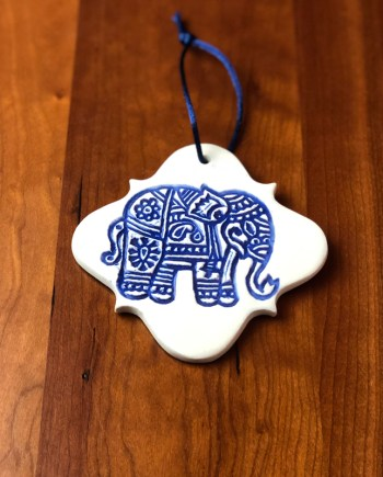 handmade ceramic elephant ornament