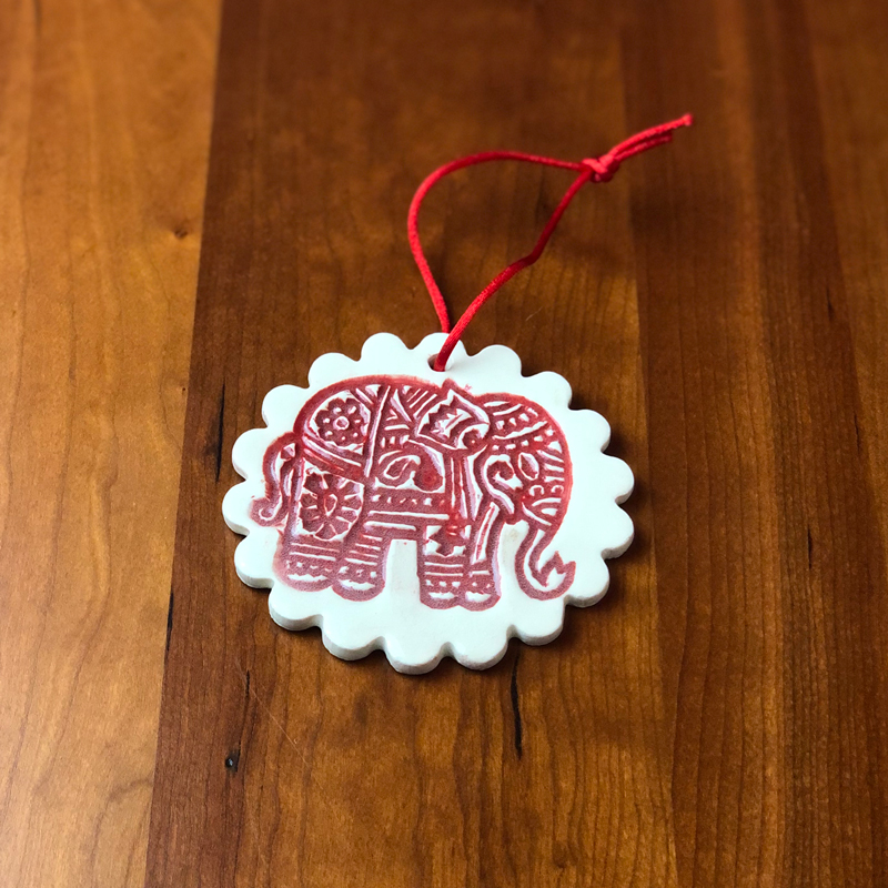 handmade elephant ceramic ornament