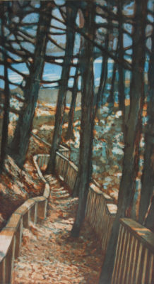 original hand pulled print of a wooded trail