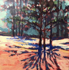 late winter shadows - original painting by Mark Mehaffey