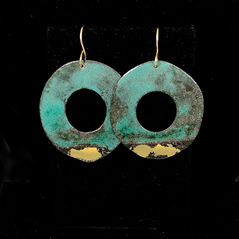 handmade enameled steel hoops with 22k gold