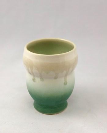 Green and white Yunomi by Richard Aerni