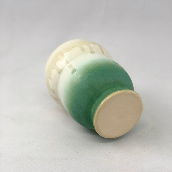 Bottom view of White and Green Yunomi by Richard Aerni