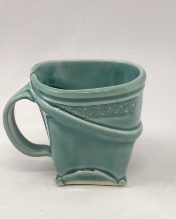 photo of blue soflty squared mug handmade