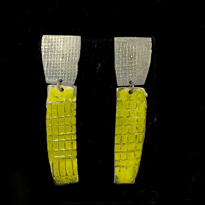 handmade long enameled steel earrings