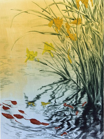 original hand pulled print of yellow irises by water