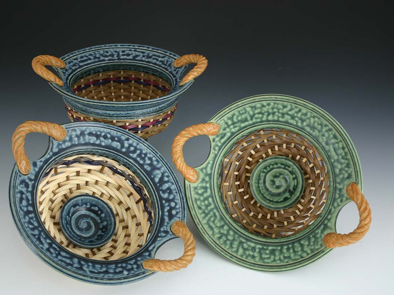 Medium Ceramic & Reed Bowl by Stephen Kostyshy
